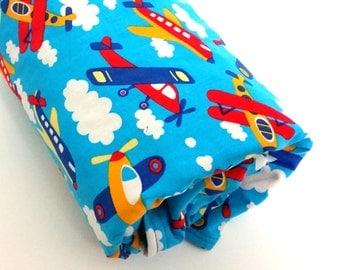 Minky Baby Blanket- Airplane Baby Blanket- Boy Baby Blanket- Homemade Baby Blanket-Transportation Theme-Airplane Nursery Bedding