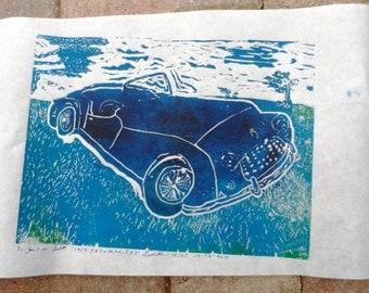 1959 TRIUMPH TR3-LINOLEUM PRINT-9x12 inches-multi colored