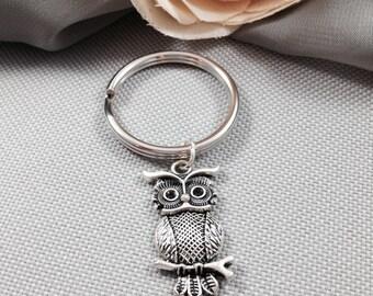 Owl keychain, bird keychain, animal keychain
