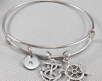 Nautical bracelet, bangle bracelet, anchor bracelet, nautical bangle, personalized bracelet, silver bangle bracelet, gift for her