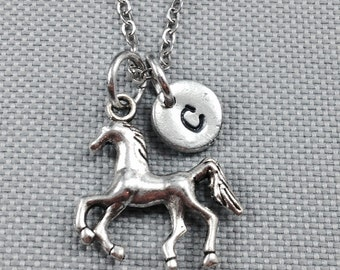 Horse charm necklace, animal necklace, animal jewelry, horse jewelry, horse necklace, personalized necklace, initial necklace