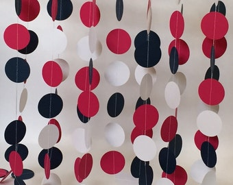 Paper Garland, Decorations, Navy, Fuchsia Pink, White