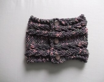 Chunky knit purple cowl scarf