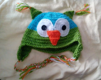 9# Child bonnet blue and green owl