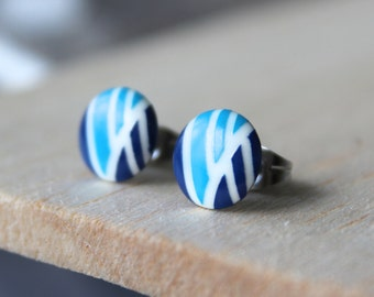 Blue and Navy Retro Stripes Earrings