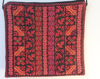 Red Embroidered Shoulder Bag - Handmade Traditional Palestinian Embroidery
