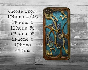 Steampunk book cover phone cover - iPhone 4/4S, iPhone 5/5S/5C, iPhone 6/6+, iPhone 6s/6s Plus case - steampunk metal iPhone case