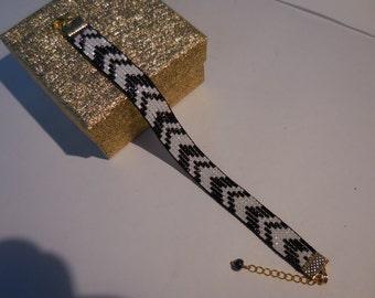 Black and White Delica beads  Bracelet