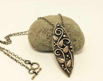 Bronze Necklace with Leaves and Vines