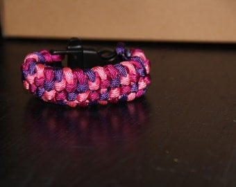 Paracord Survival Bracelet with Whistle Clip - Pink, Purple, and Light Pink