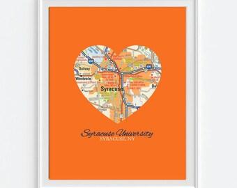 Syracuse New York University Vintage Heart Map Art Print, Christmas gift for her, Syracuse Orange
