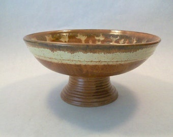 Stoneware Pedestal Bowl Brown Spotted