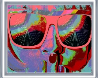 Sunglasses Trippy Art Print 8 x 10 – Psychedelic - Visionary - Festival Art - Rave - EDM - Pop Art - Bright Colors - Music Fest