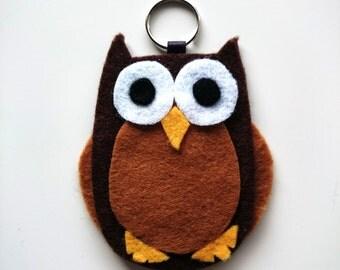 Owl Keyring, Keychain, Bag Charm, Character, Woodland, Felt