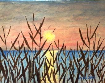 Sunrise in late summer,Original Seascape, Original painting, Handmade by Silvia Dimova