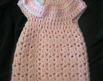 Newborn Crochet Baby Pink and White Dress