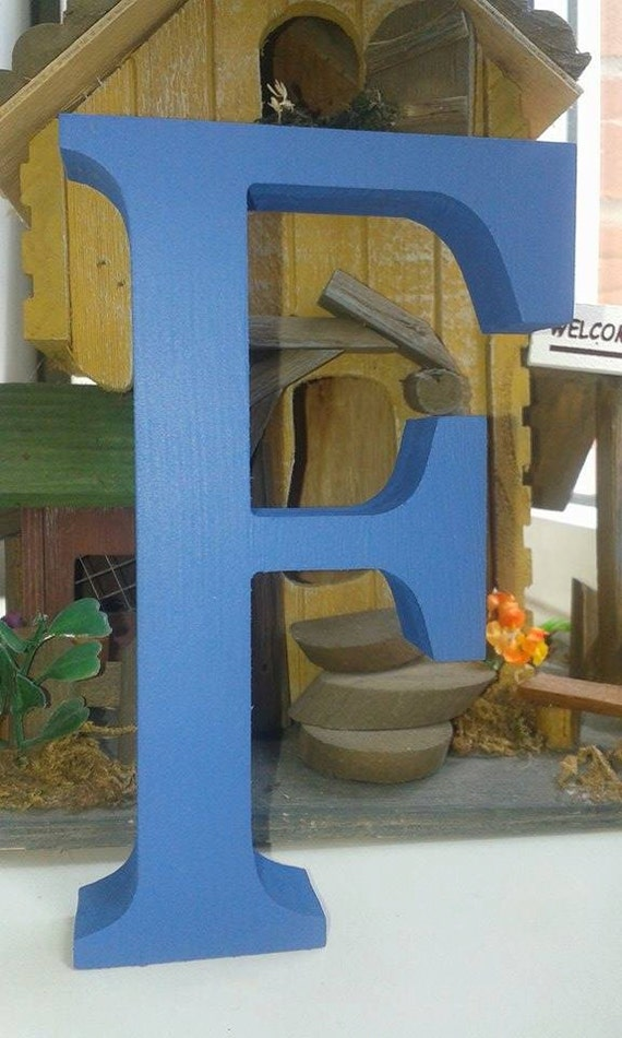 Bright blue wooden letters and numbers free standing for Standing wood letters to paint