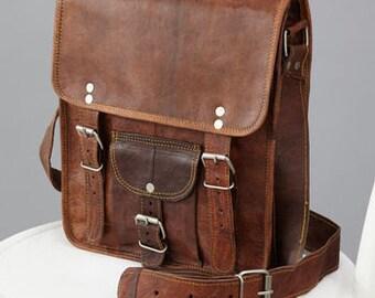Long Leather Satchel With Front Pocket By Vida Vida