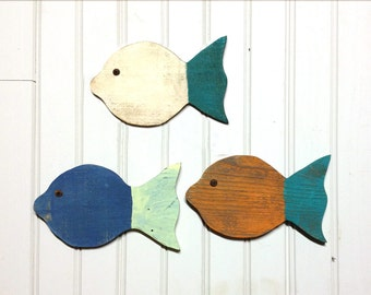 Painted School Of Fish Wall Decor Made With Reclaimed Wood   Set Of 3   9