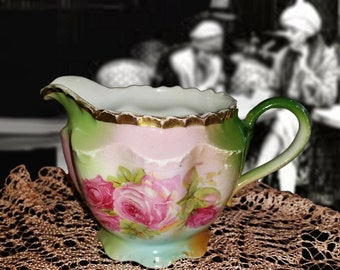 On Sale Now! Pretty Vintage Green and Pink Floral Creamer