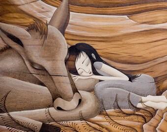 Sleeping Horse Print, Art for Girls Room, Art for Children, Fine Art Print, Whimsical Art, Girl's Room