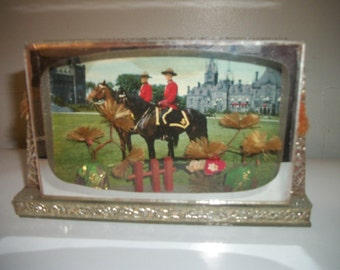 Vintage Royal Canadian Mounted Police Glass Shadow box Diorama, Made in Japan, 1950's