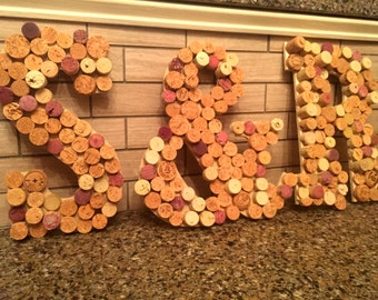 """Corked Wooden Initials (12"""")"""