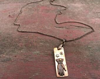 Steampunk Copper Gloved Pendant on Copper Chain Neclace