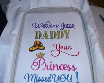 Welcome home Daddy your Princess Missed you /combat boots and crown