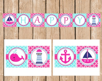 Girly Whale, Sail Boat, Happy Birthday Banner, DIY, Printable