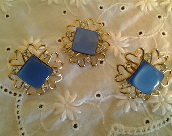 Lucite Moon Glow Blue Screw On Earrings & Brooch Demi Set 1950's  Vintage Antique Estate