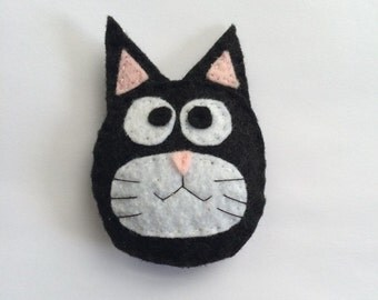 Felt Black and White Cat Face Catnip Cat Toy Handmade