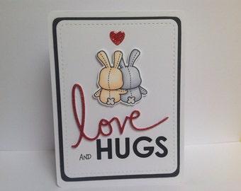 Handmade greetings card, Mama Elephant image, Love and Hugs