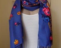 Russian scarf blue scarf floral scarf winter head scarf fringe shawl women scarves,rusiian scarf blue,beige,black,pink,brown