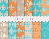 Fleur de Lis Paper, 12 SHEETS 12x12 Inches, Fleur de Lis, Royal Paper Pack