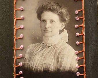 French knot series on vintage photographs...measures 3 1/2 x 5 1/2 inches