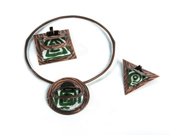 Enameled Copper Necklace, Contemporary Handmade Jewelry by MENGXUAN LIU