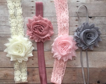 Shabby Chic Baby Headband Set of 4 Headbands, Newborn Headband, Baby Hair Bows, baby shower gift, Vintage baby headband set, Infant Headband