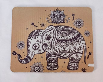 Flower Elephant mousepad, Aztec Geometric Mouse Pad,vintage elephant Mousepad,Work Pad Mat,Rectangle mousepad,Personalized Computer Gift