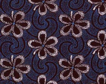 Blue on brown floral shweshwe fabric from South Africa sold by the yard