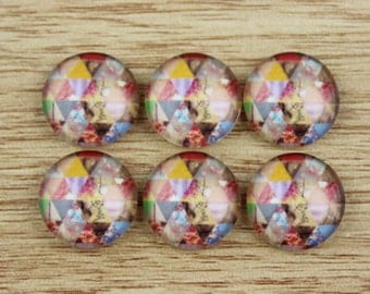 10 pcs 12mm Handmade photo glass cabochon cabs--471-5