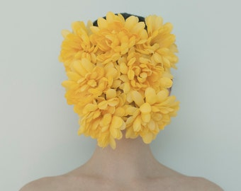 Fine art print, Wall art print, Color portrait of a woman with yellow flowers covering her face, 8x10 - Yellow