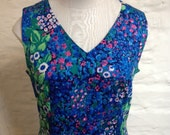 SALE was 40 Dress Vintage Floral Sleeveless Maxi Summer Dress ina Exclusive Handdruck Size 10  12