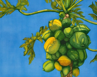 Watercolor painting...PAYAYA PASSION...payaya tree...giclee