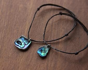 Paua Shell (Abalone) Bracelet, Waxed Cotton, New Zealand