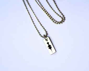 """Stainless Steel Waveform Tag Necklace Sound Wave """"Charmed"""" Necklace Engraved (Laser Marked) Soundwave Pendant on Ball Chain"""