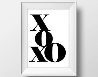 Love Poster Print with XOXO Text Words for Wedding Gift for Her Elegant Home Living Room Decor, Wall Canvas Art, or Modern Studio Apartments