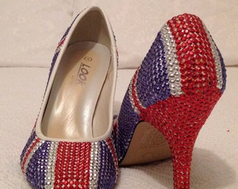 Union Jack - Hand Embellished - Red, Silver and Blue, Rhinestud Shoe - Size 4 - 3 inch Heel