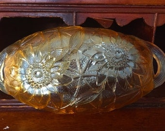 Indiana Carnival Glass Lily Pons relish tray in marigold