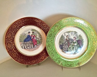 """Pair of Imperial by Salem China """"Godey Victorian Ladies"""" Service plates-with 23 karat gold, made in 1940's"""